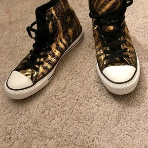 CONVERSE ALL*STAR high-tops blk/gold/animal Sz 10